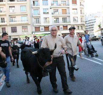 Grand défilé pour symboliser la descente des Alpages et la fin de l'estive (période où les vaches paissent sur les pâturages de montagne).